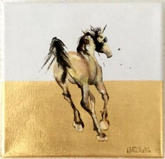 At a Trot - Horse, a dynamic contemporary oil painting on canvas with gold leaf