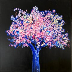 """Blue Moon Tree"", Bright and colorful painting with blossoming flowers and tree"