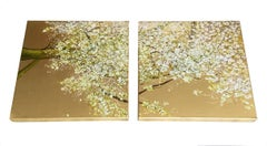 Call Me Sweetheart, White tree with flowers & gold background, oil diptych