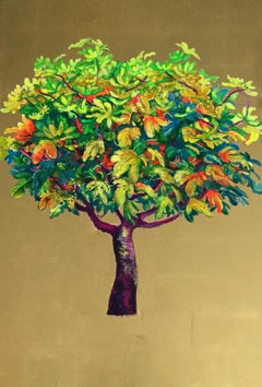 Capricciosa, Elegant oil on canvas with gold leaf, lush tree with green leaves