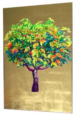 """Capricciosa"", Elegant oil on canvas with gold leaf, lush tree contemporary"