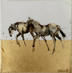 Companions - Horse, a dynamic contemporary oil painting on canvas with gold leaf