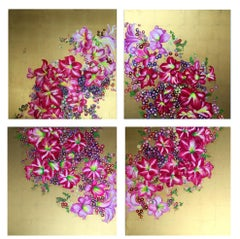 """Regal Glory"", 4-panel canvas, bright pink floral wreath, golden background"