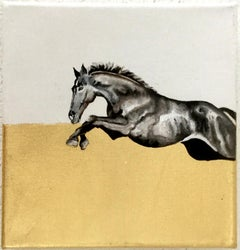 Diving - Horse, a dynamic contemporary oil painting on canvas with gold leaf