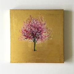 Early Blossom, Elegant Oil on Canvas with Gold Leaf, Pink Tree & Flowers