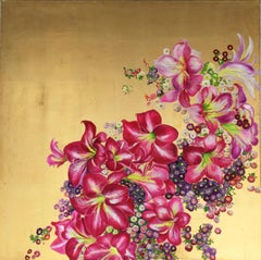 """""""Elation I"""" Colorful fuchsia blossoms, contemporary oil on canvas with gold leaf"""