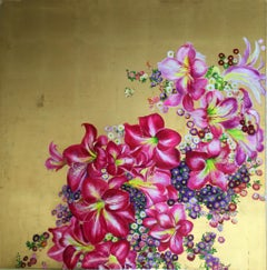 """""""Regal Glory I"""", Colorful Tropical Blossoms, Floral Pink and Gold Oil on Canvas"""