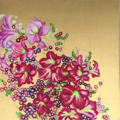 """""""Elation II"""" Colorful pink blossoms, contemporary oil on canvas with gold leaf"""