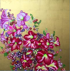 """Elation II"" Colorful tropical pink blossoms, Oil on canvas with gold background"