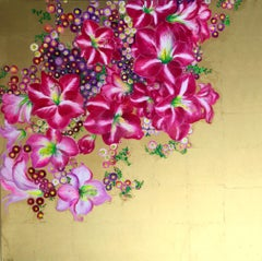 """""""Elation IV"""", Colorful Fuchsia Blossoms, Floral Pink and Gold oil on Canvas"""