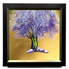 Fluttering, Oil on canvas with gold leaf, romantic elegant tree