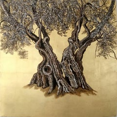 """Gnarly"", Elegant oil and gold leaf painting, olive tree, landscape, nature"