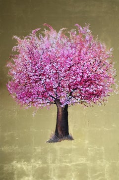 Happy Encounter,  Elegant oil on canvas with gold leaf, contemporary Pink Tree