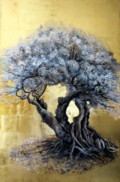 How Time Goes By and Yet it Blossoms - Olive tree with white flowers, gold leaf