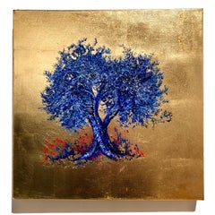 Indigo, Blossom blue Tree, contemporary Oil on Canvas Gold Leaf Painting