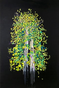 Inseparable - Contemporary oil on canvas - romantic, green tree - elegant black