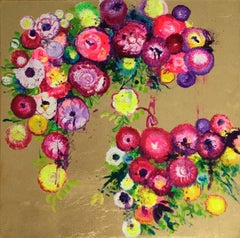 Jolly, Bright color oil on canvas with gold leaf, contemporary flower pattern