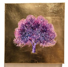 Let the Sunshine In, Purple Blossom Tree, Oil on Canvas Gold Leaf Painting