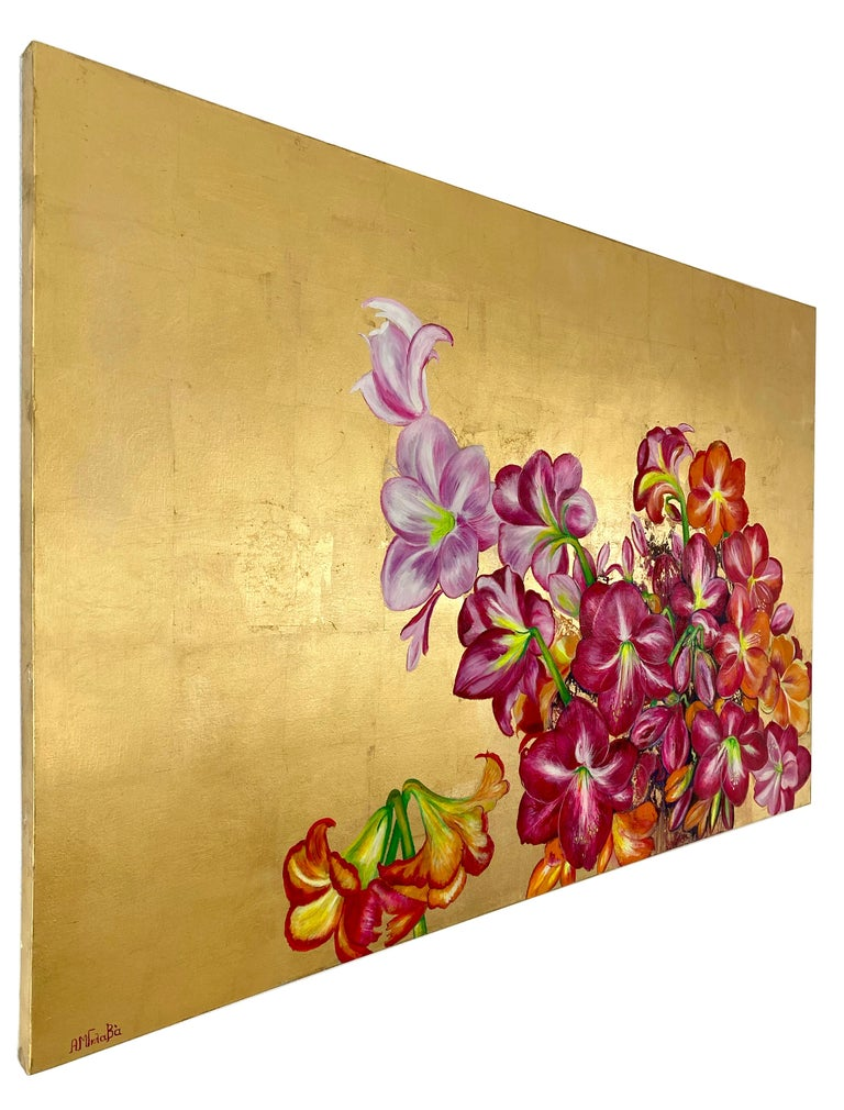 Lilies In The Valley, Large gold painting with colorful nature, flower palette - Contemporary Painting by Anastasia Gklava