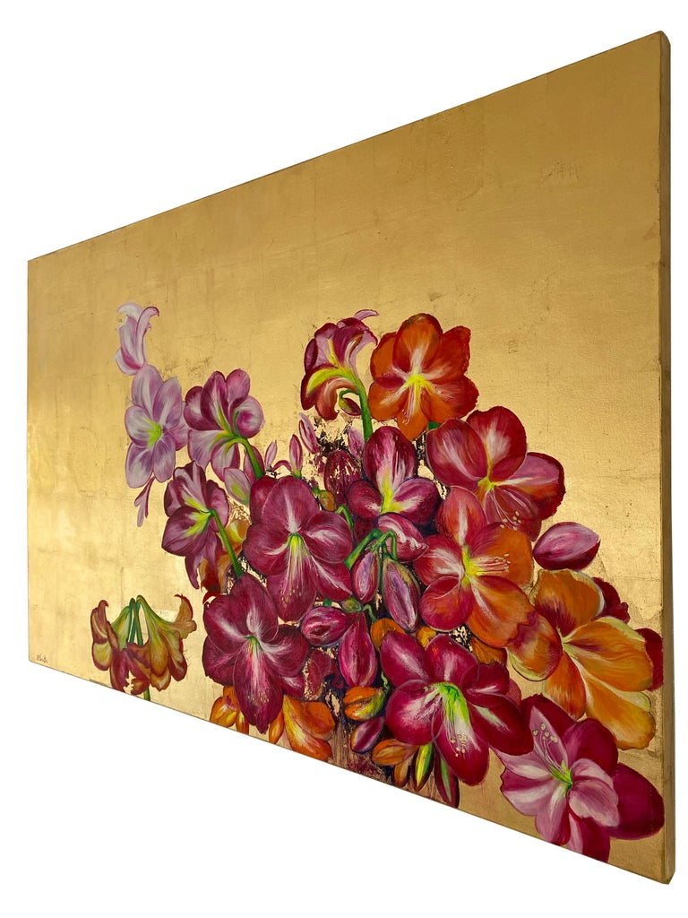 Lilies In The Valley, Large gold painting with colorful nature, flower palette - Gold Still-Life Painting by Anastasia Gklava
