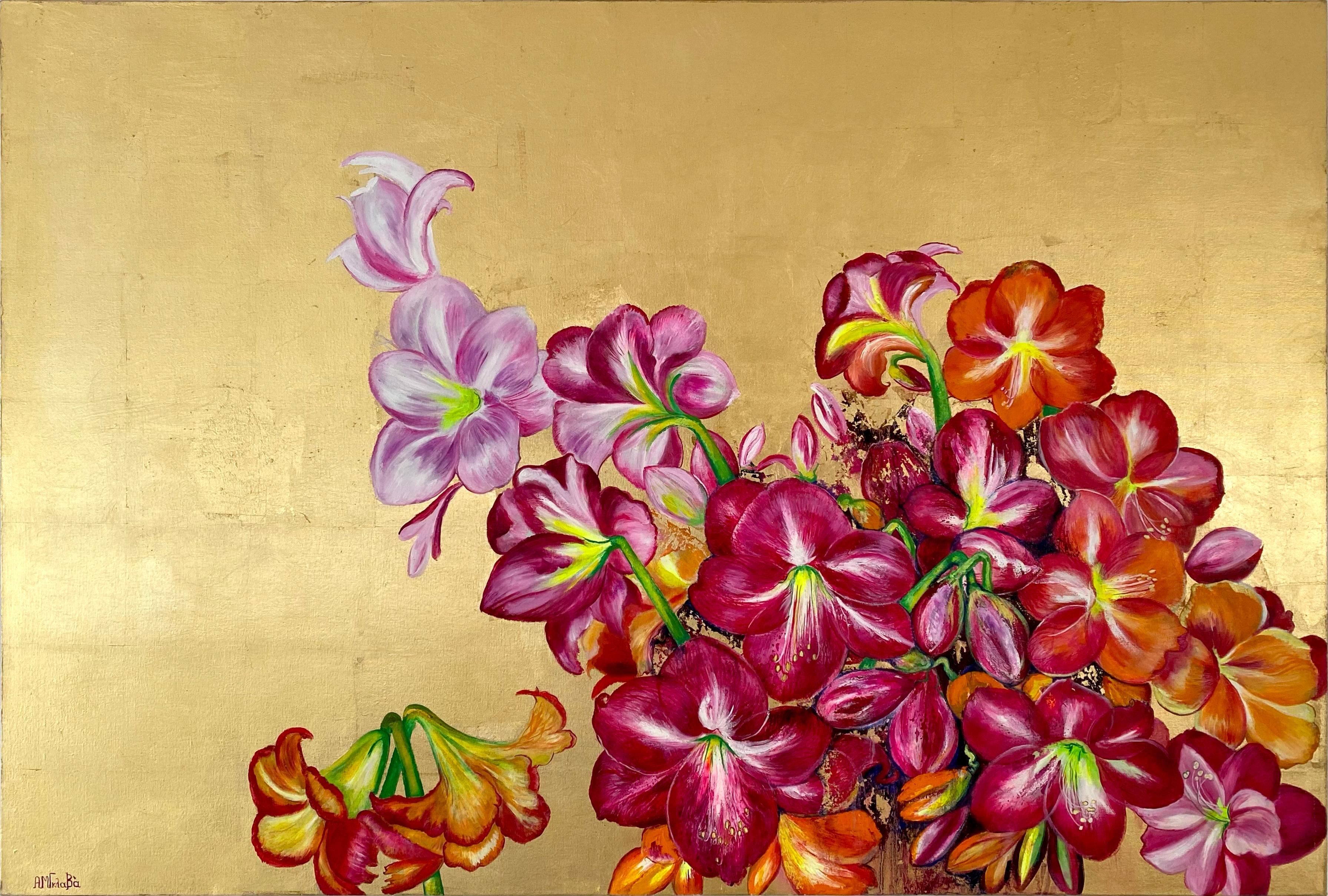 Lilies In The Valley, Large gold painting with colorful nature, flower palette
