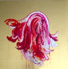 """""""Luscious"""", Colorful fuchsia pink flora, Oil on canvas with gold background"""