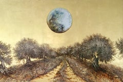 Moonlight Walking, Landscape gold leaf & oil painting with trees and a full moon