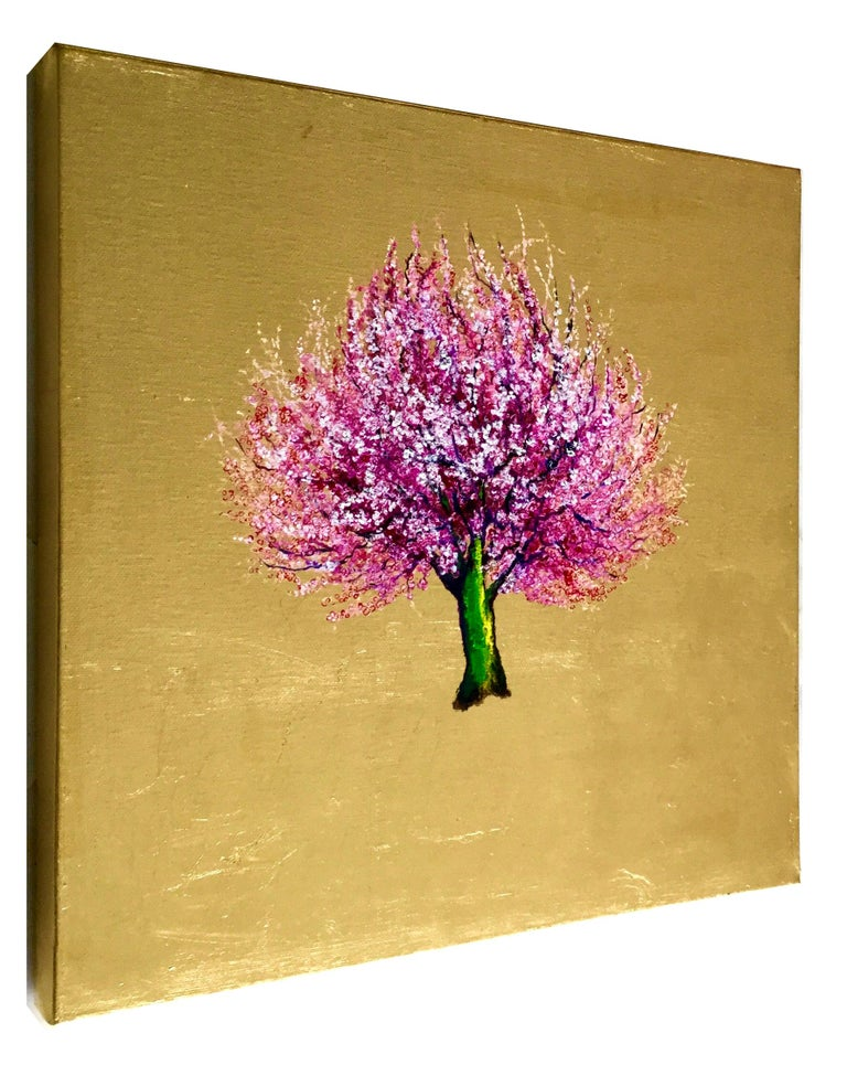 This is a gorgeous oil and gold leaf on canvas 15.75x15.75x1.5 inches / 40x40x4 cm The painting is available unframed for $950 - Artwork Framed: 18x18x2 inches / 50x50x6cm, custom black and gold trim wood frame for $1100  This is a stunning and