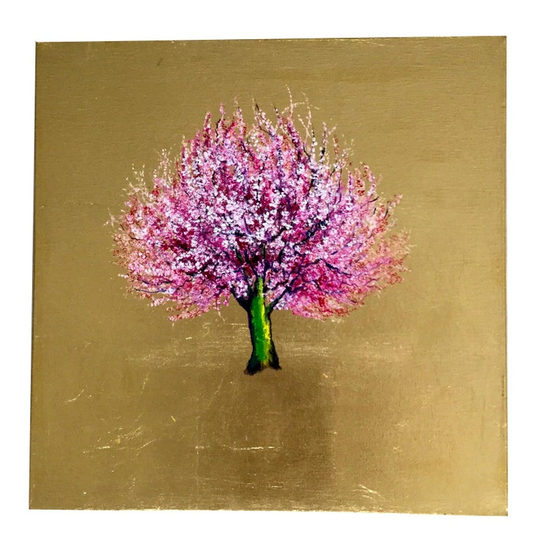 Morning Greeting, Elegant Oil on Canvas with Gold Leaf, Pink Tree & Flowers  For Sale 1
