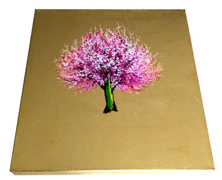 Morning Greeting, Elegant Oil on Canvas with Gold Leaf, Pink Tree & Flowers  For Sale 2