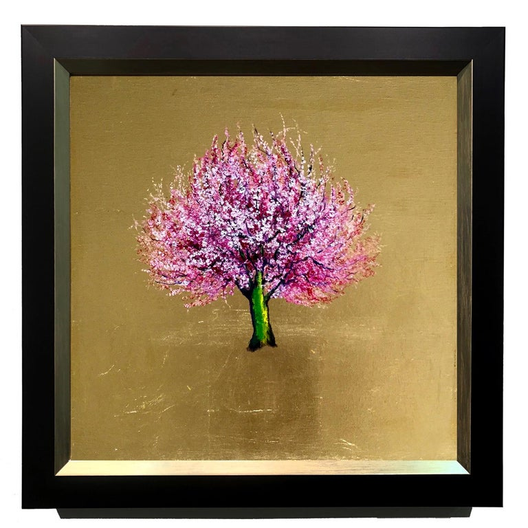 Anastasia Gklava Figurative Painting - Morning Greeting, Elegant Oil on Canvas with Gold Leaf, Pink Tree & Flowers