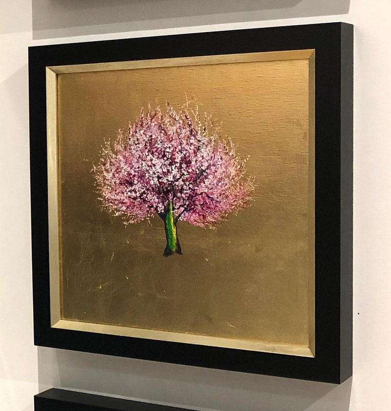 Morning Greeting, Elegant Oil on Canvas with Gold Leaf, Pink Tree & Flowers  - Painting by Anastasia Gklava