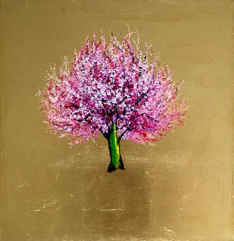 Morning Greeting, Elegant Oil on Canvas with Gold Leaf, Pink Tree & Flowers  - Contemporary Painting by Anastasia Gklava