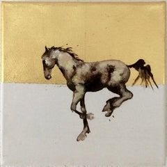 Never Say No Again - Horse, a dynamic contemporary oil painting with gold leaf