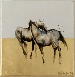 Nuzzling - Horse, a dynamic contemporary oil painting on canvas with gold leaf