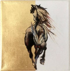 Pride - Horse, a dynamic contemporary oil painting on canvas with gold leaf