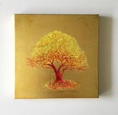 Remember Me, Yellow and Orange Tree, Oil on Canvas with Gold Leaf Painting