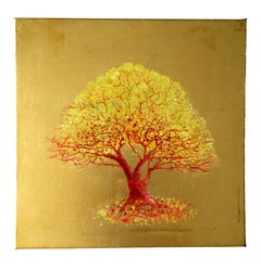 Remember Me, Yellow & Orange Tree, Pop style painting, Oil on Canvas Gold Leaf
