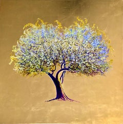 Rites of Spring, Oil on canvas with gold leaf, contemporary white flowering tree