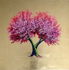 """Ruby"", Elegant oil on canvas with gold leaf, contemporary pink flowering tree"
