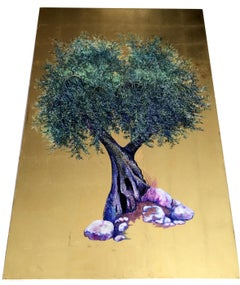 Stay Till Dawn, Elegant oil on canvas with gold leaf, contemporary Olive Tree