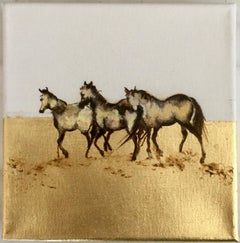 Strolling Around - Horse, a dynamic contemporary oil painting with gold leaf