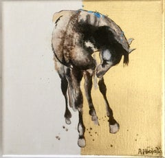 Tender - Horse, a dynamic contemporary oil painting with gold leaf