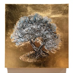 The Hug, Warm tones of blush Tree, contemp. Oil on Canvas Gold Leaf Painting