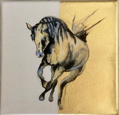 Thunder - Horse, a dynamic contemporary oil painting on canvas with gold leaf