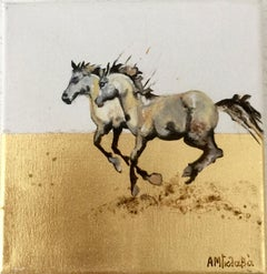 Together - Horse, a dynamic contemporary oil painting on canvas with gold leaf