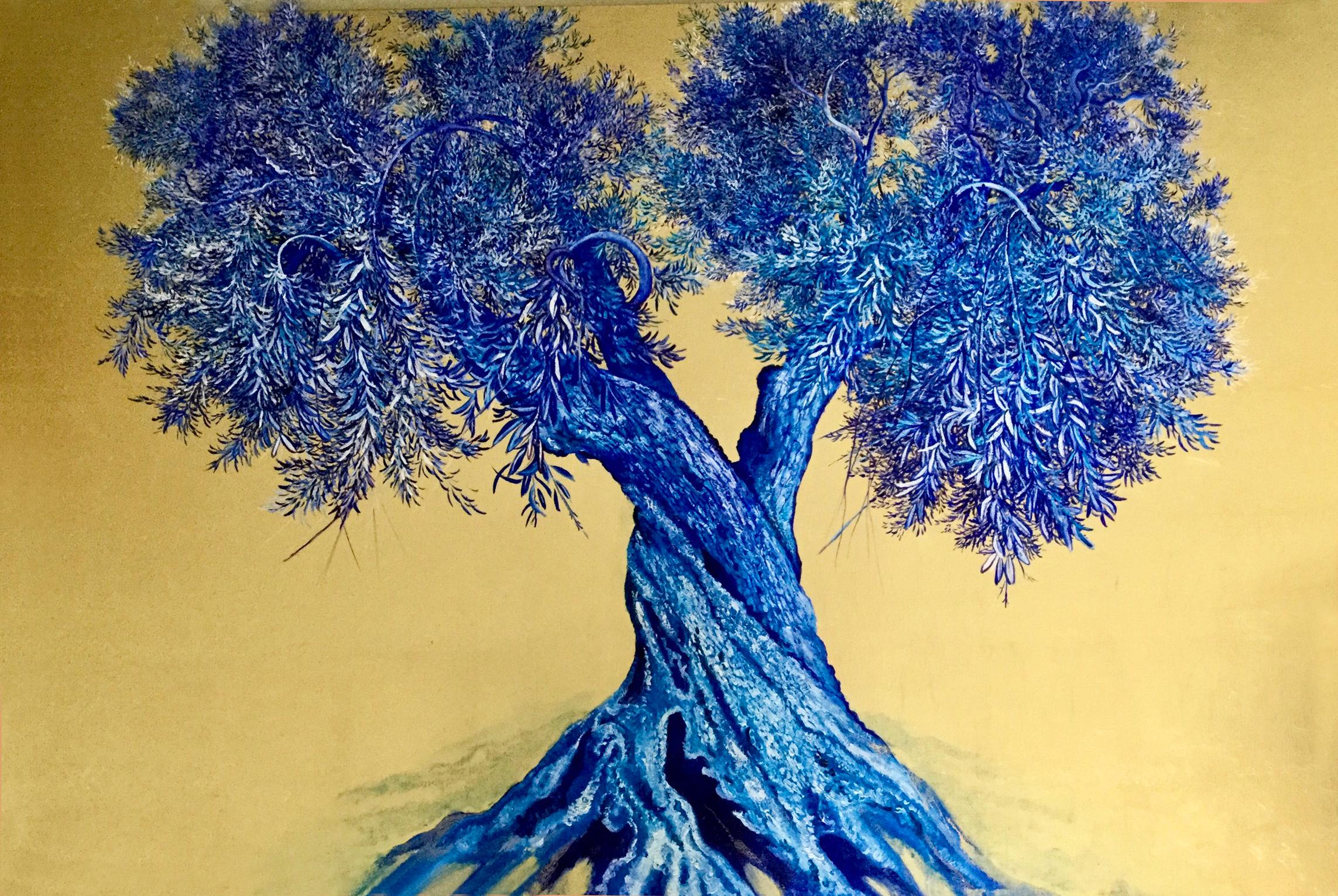 Unbounded Beauty, Large gold painting with strong olive tree, blue palette