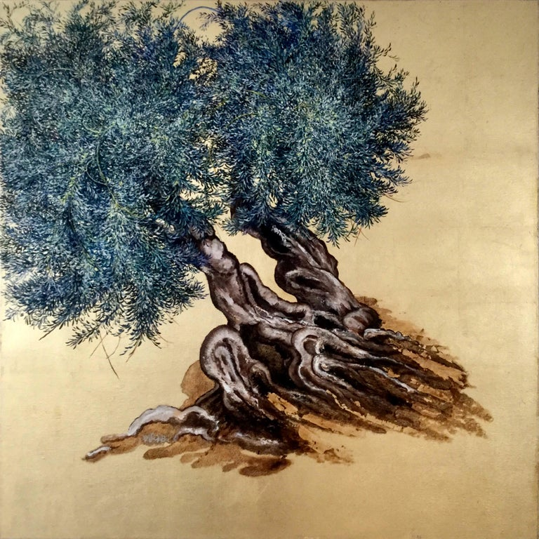 "Anastasia Gklava Still-Life Painting - ""Untamed"", Elegant oil and gold leaf painting, olive tree, landscape, nature"