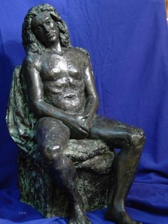 """Rembrandt in Bronze - """"Seated Male Nude"""" - unique etching sculpture"""