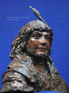 "Rembrandt in Bronze - ""Self-portrait with plumed Cap/Sabre"" - etching sculpture"
